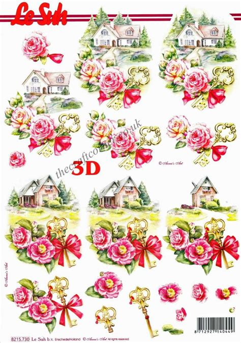 Free 3d Decoupage Sheets - new home with roses key 3d decoupage sheet by le suh