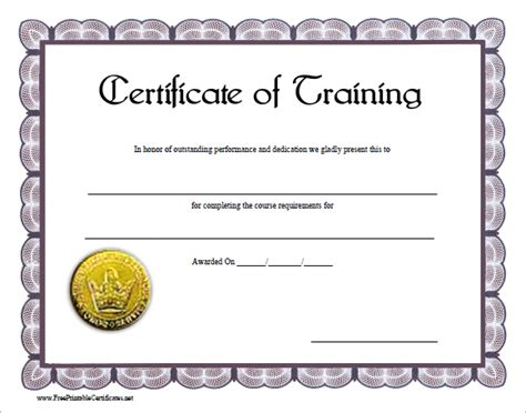 free training certificate template 6 training certificate