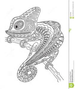 monochrome chameleon coloring page black over stock vector