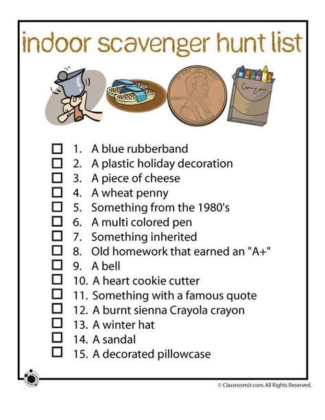 scavenger hunt ideas indoor scavenger hunt list ideas when the won t go