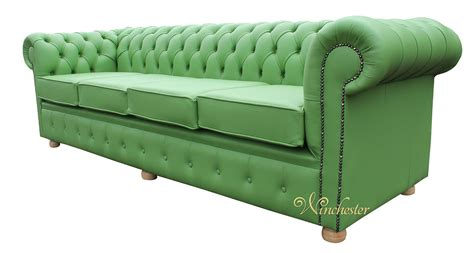 Chesterfield 4 Seater Settee Apple Green Leather Sofa Offer 4 Seater Chesterfield Sofa