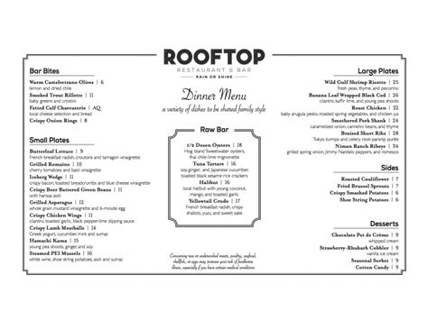top bar menu see the menu for rooftop restaurant bar opening next