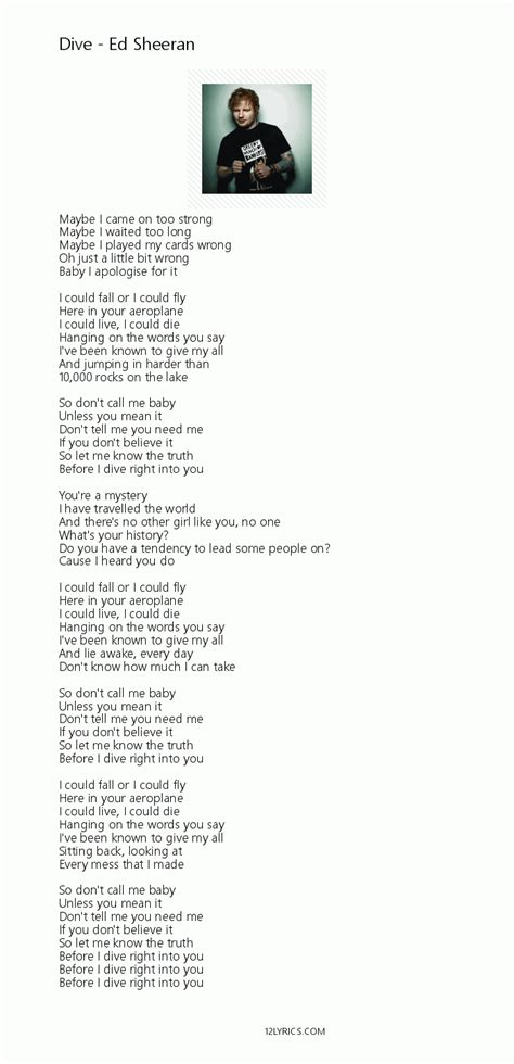 Ed Sheeran Lyrics Dive | ed sheeran dive lyrics pdf 12lyrics