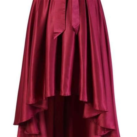 burgundy satin high low skirt with front bow on luulla