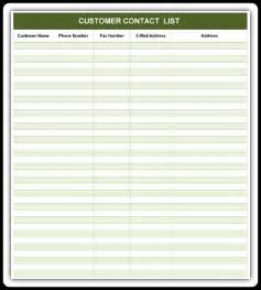 Customer List Template by Customer Contact List Excel Word Templates