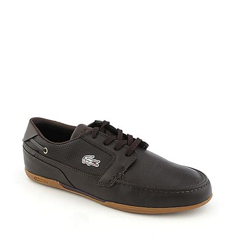 lacoste dreyfus spm lth brown leather casual boat shoe