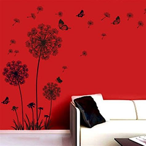 adesivi da parete da letto malloom 174 tarassaco neri e farfalle che volano nel vento
