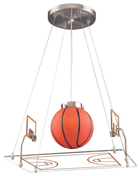 Basketball Ceiling Light Basketball Court Pendant Satin Nickel Eclectic