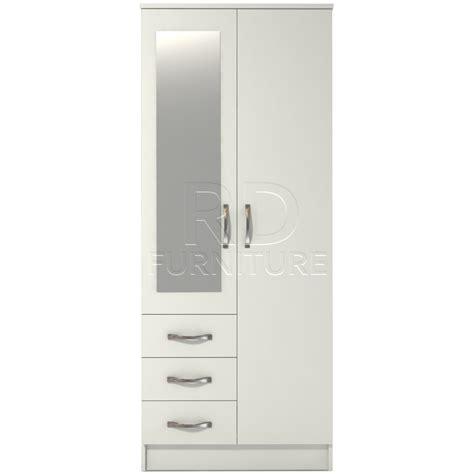 Classic 2 Door 3 Drawer Combi Short Mirrored Wardrobe