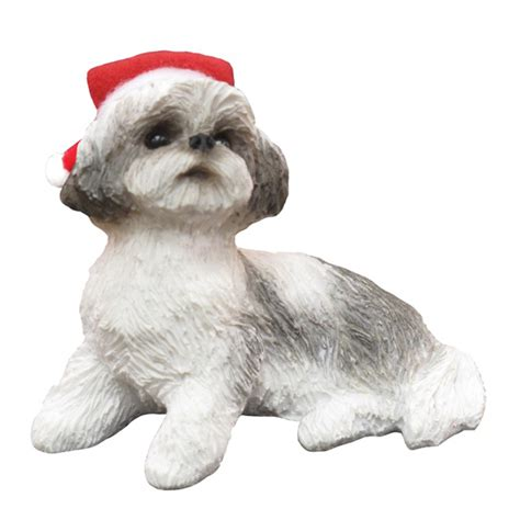 shih tzu sitting christmas ornament gray baxterboo