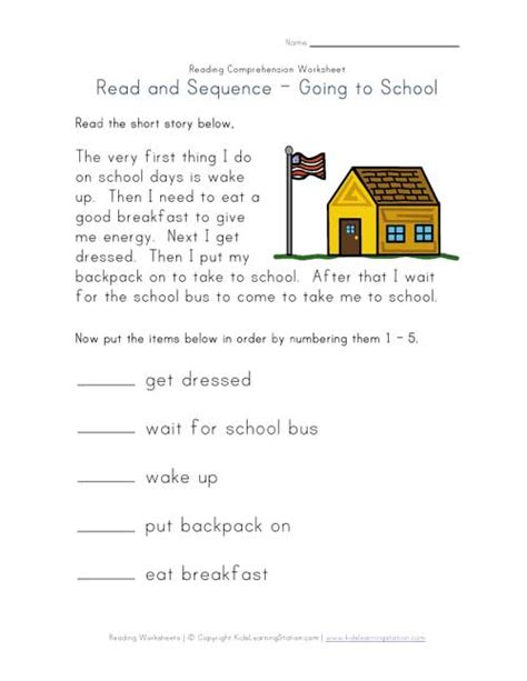 Easy Reading Comprehension Worksheets by Easy Reading Comprehension Getting Ready For School