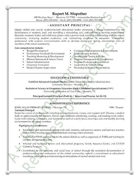 Assistant Principal Resume Sample   Page 1