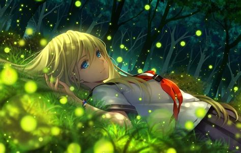 anime girl with fireflies wallpaper schoolgirl art nature fireflies smile trees