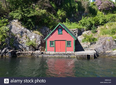 wooden boat house norway europe red and green wooden boat house and fishing