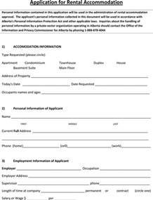 Alberta Lease Agreement Template by The Alberta Application For Rental Accommodation Form Can
