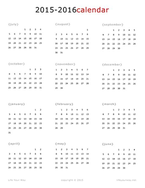2016 Calendar One Page 2015 2016 One Page Calendar Your Way