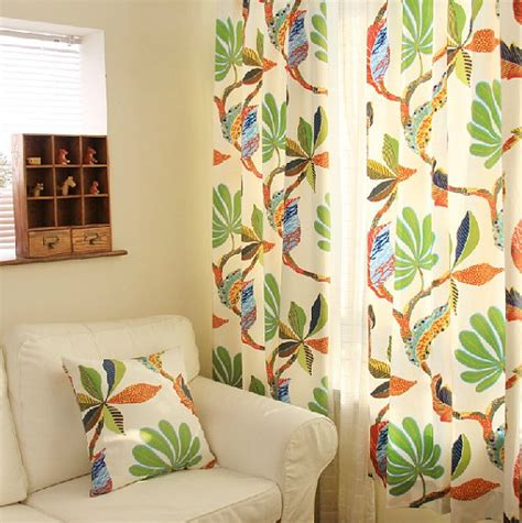 Tropical Print Curtains Cotton Duck Tropical Leaf Print Curtain Panel 52 W