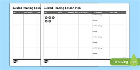 lesson plan template gaeilge guided reading planning template australia guided reading