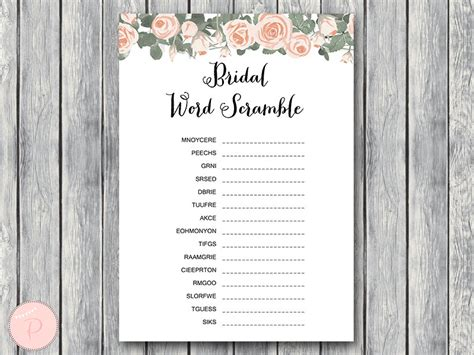 Free Bridal Shower Word Scramble by Pink Floral Bridal Shower Printable Bows