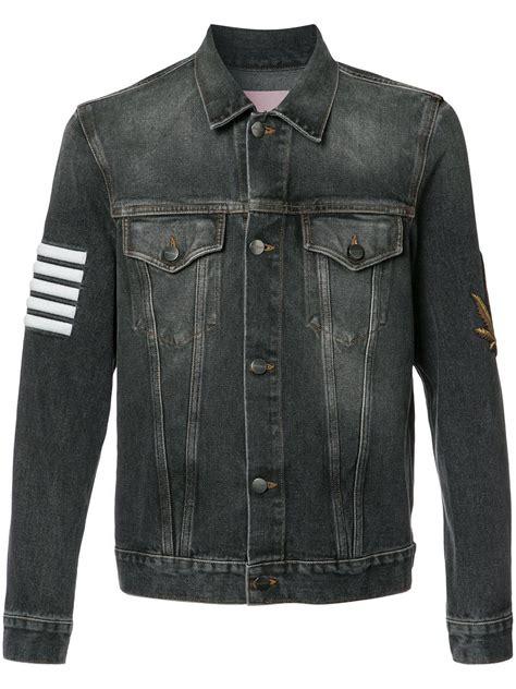 Jaket Print Black palm striped print denim jacket in black for lyst