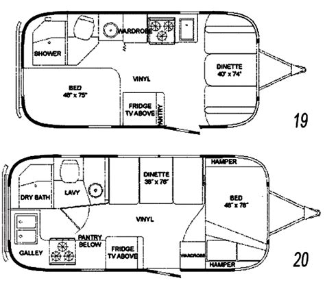 airstream floor plans the vintage airstream flying cloud 19 20 foot travel