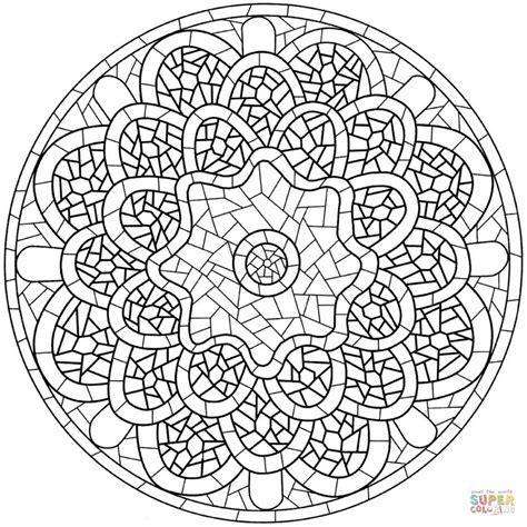Disegno Di Mandala Con Motivo A Mosaico Da Colorare