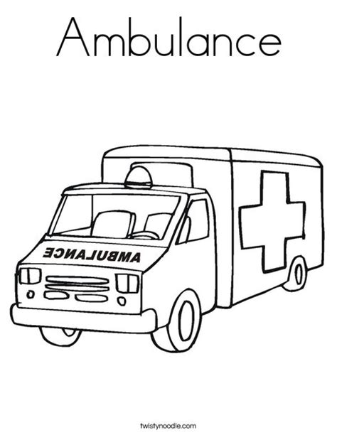 Ambulance Coloring Page Twisty Noodle 911 Coloring Pages Preschoolers