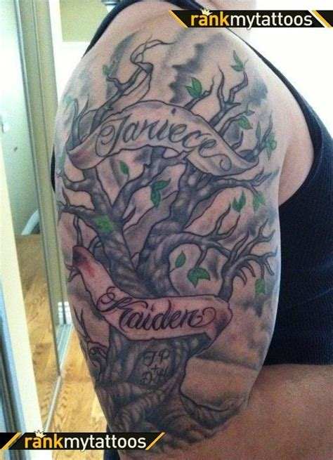 pics photos half sleeve first tattoo family tree tattoos