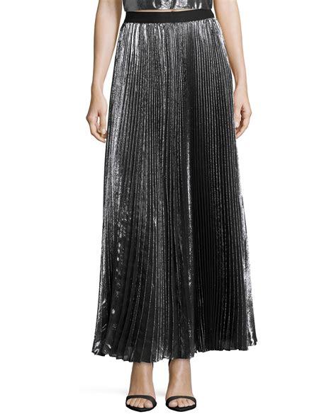 pleated metallic maxi skirt in gray lyst