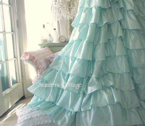 shabby chic curtains cottage home furniture decoration shower curtains ruffled
