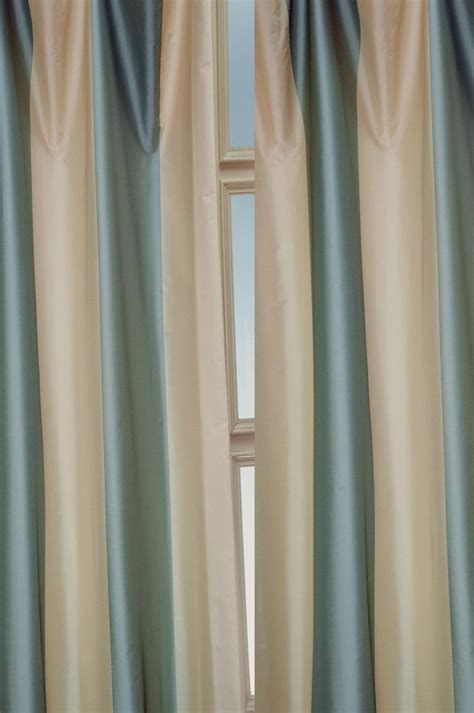 Blue And Ivory Curtains Hton Ivory Blue Poly Taffeta Panel Drape