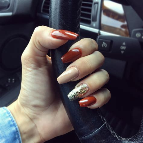 fall color nails fall inspired nails essie koi fall coffin essie