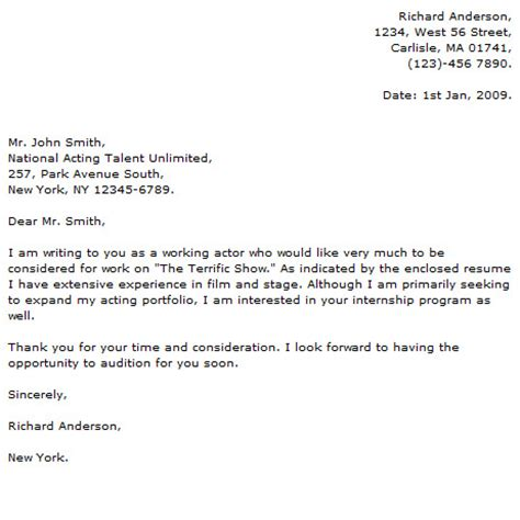 Acting Cover Letters actor cover letter exles