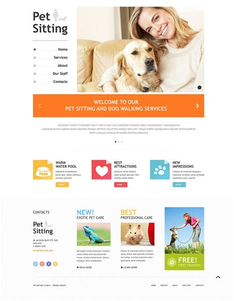 Pet Sitting Responsive Website Template 48701 Pet Sitting Templates Free