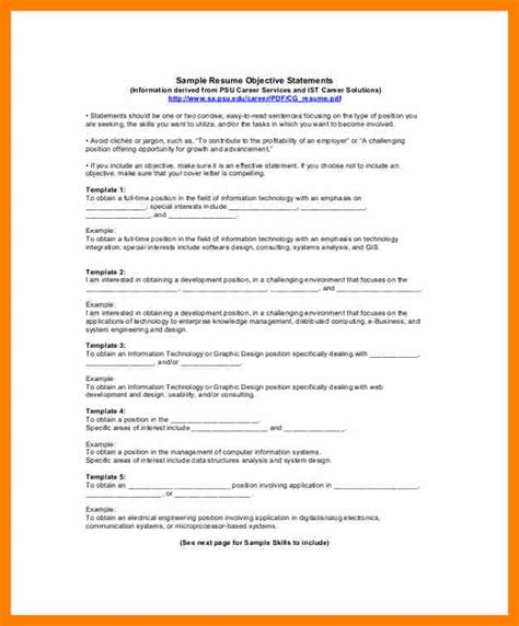 Resume Format For Purpose by 11 Resume Statement Of Purpose Prefix Chart