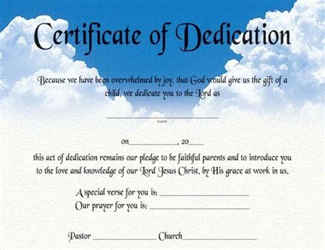 dedication certificate template 10 best church certificates images on the
