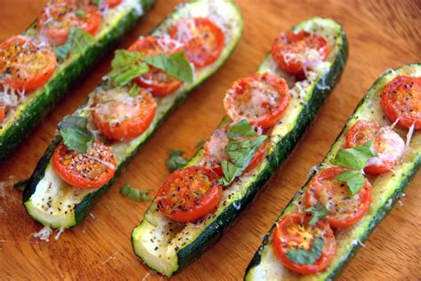 roasted zucchini boat recipes baked zucchini boats with parmesan and cherry tomatoes