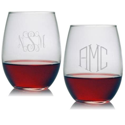 monogrammed barware glasses susquehanna stemless wine glass set of 4 monogrammed