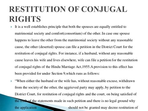 restitution of conjugal rights section 9 matrimonial remedies under hindu marriage act 1955