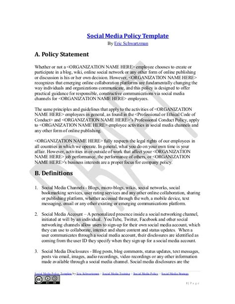 social media policy template for employees social media policy template