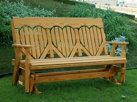 wood glider bench amish pine wood high back heart outdoor glider bench