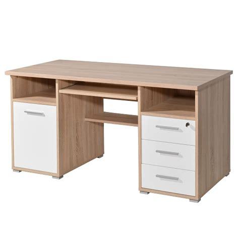 white wooden computer desk luciana wooden computer desk in sonoma oak and white 30637
