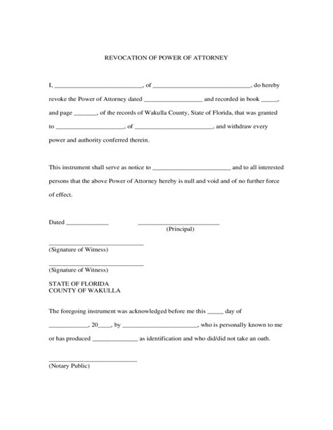revocation of power of attorney form florida free download