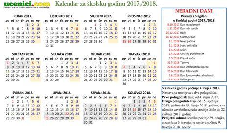 Kalendar S Blagdanima 2018 školski Kalendar S Praznicima Za 2017 2018 Godinu