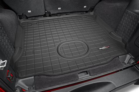 cargo mat for jeep wrangler unlimited with subwoofer weathertech cargo liner for 15 18 jeep wrangler unlimited