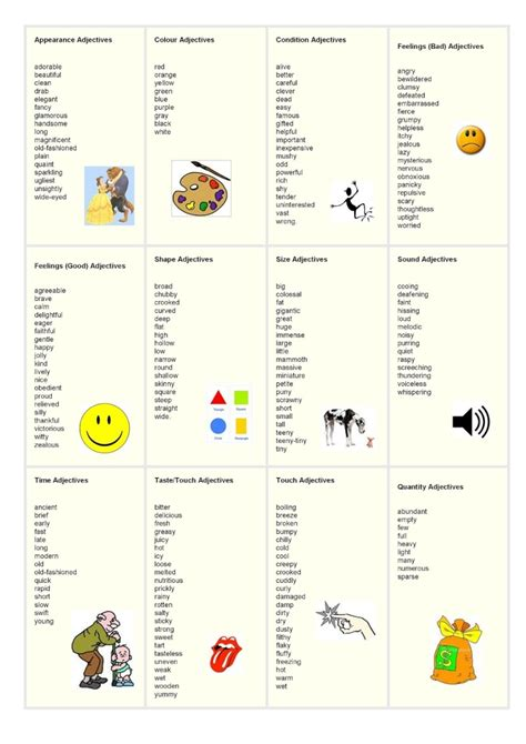 adjective list adjectives my