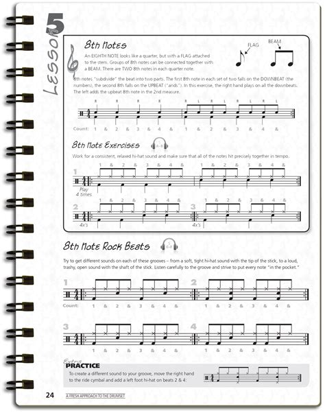tutorial drum pdf beginner drumset lessons 11 8th note rock beats vic firth