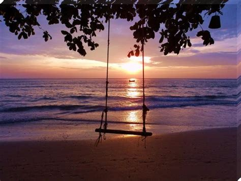 beach swing koh chang lonely beach swing sunset sunset prints by