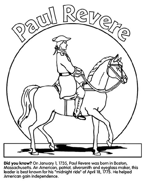 march coloring pages crayola paul revere crayola co uk