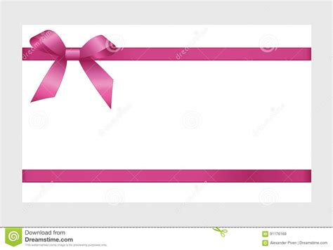 gift card  pink ribbon   bow stock vector illustration  nbackground fabric